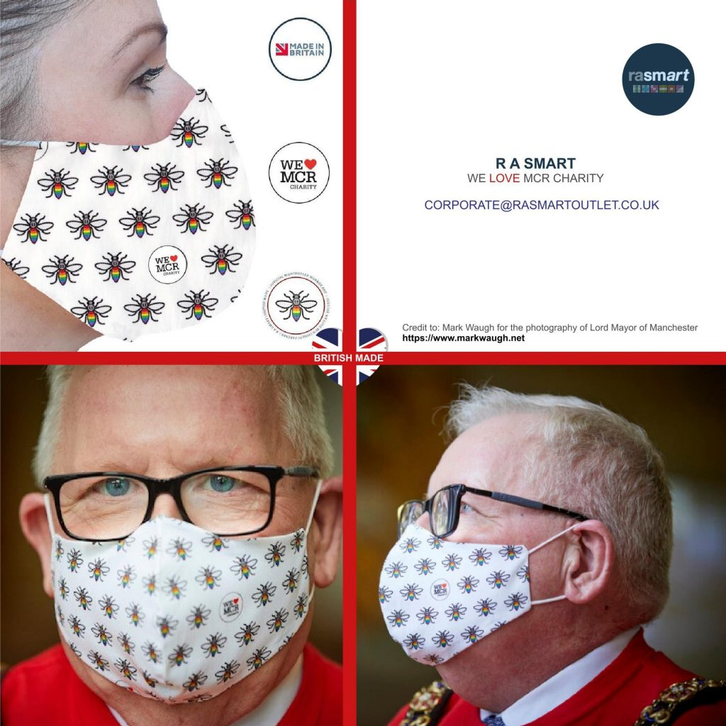 Face Mask Official Manchester Worker Bee Trademark